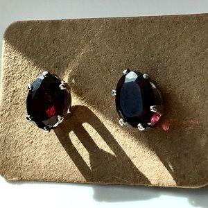 Sterling Silver and genuine garnet earrings gift
